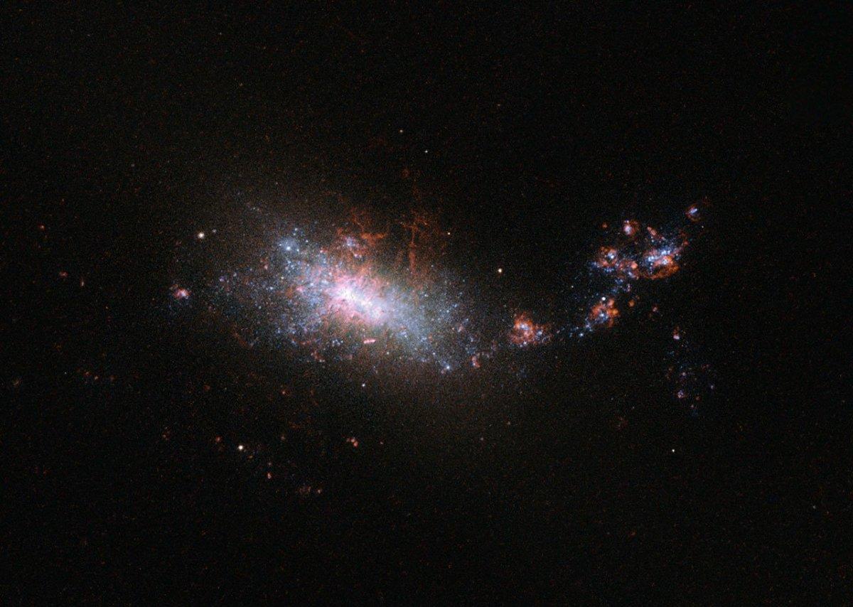 Galáxia NGC1140, do ponto de vista do Hubble. Um satélite de sorte.